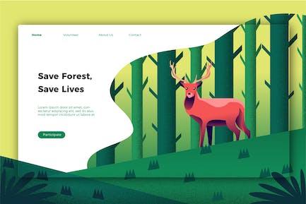 Sauver la nature - bannière et page de destination
