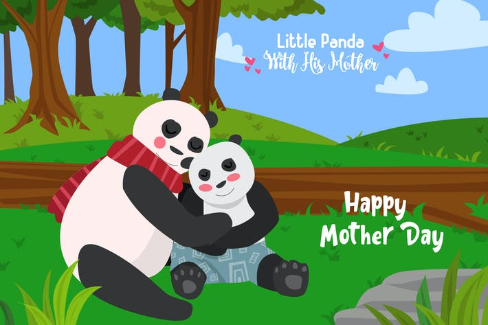 Thumbnail for Panda With Mother - Vector Illustration