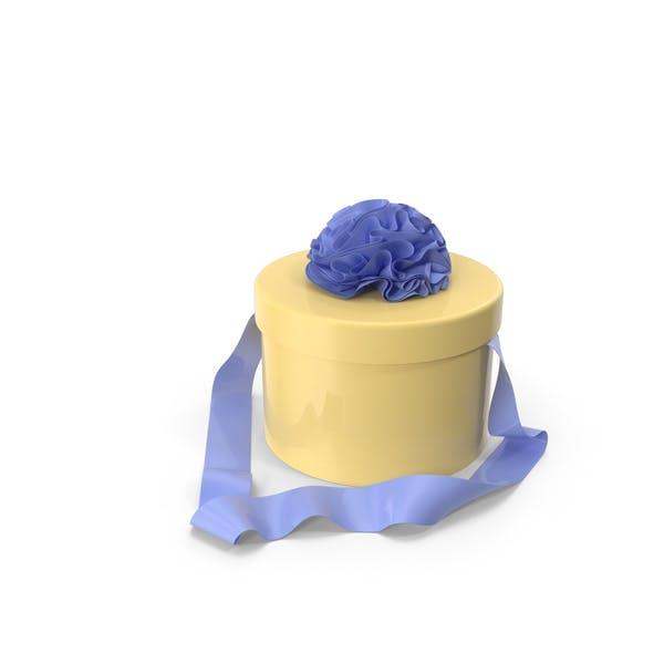 Yellow Round Box with Blue Ribbon