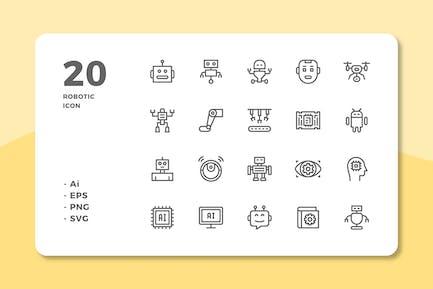 20 Robotic Icons (Line)