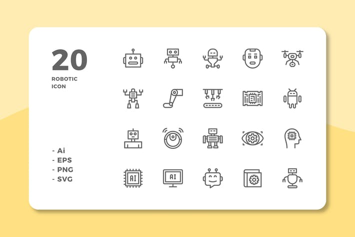Thumbnail for 20 Robotic Icons (Line)