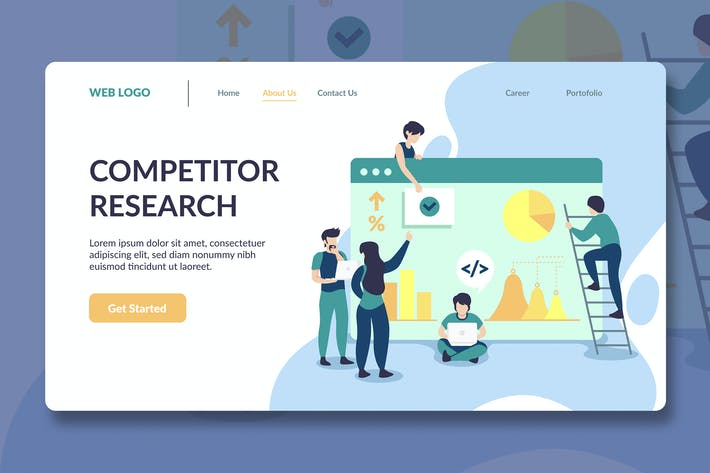 Thumbnail for Research Illustration Landing Page Template