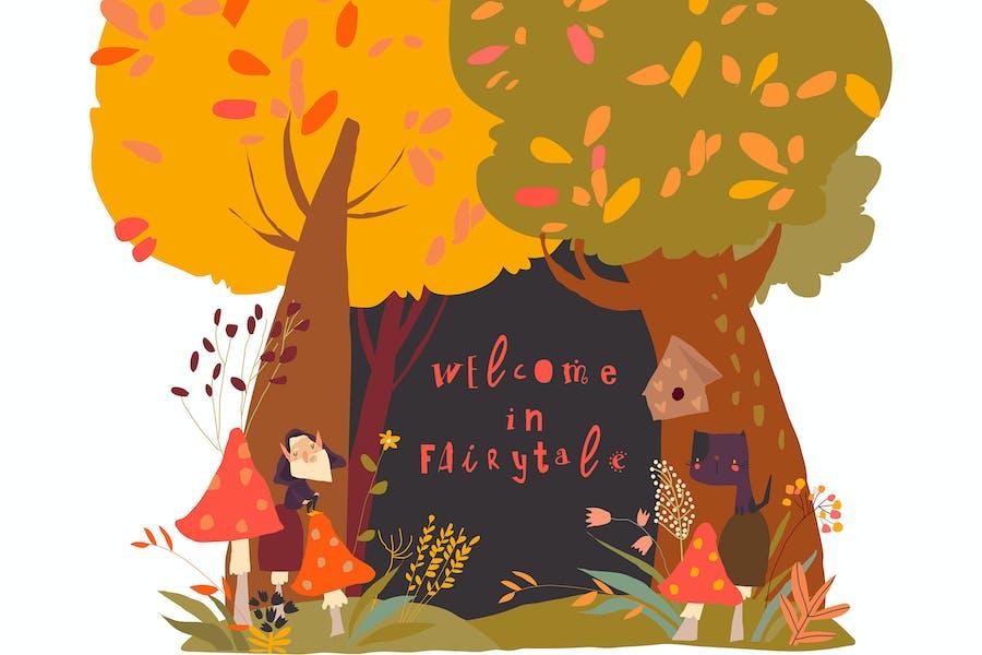 A Beautiful Woodland Autumn Scene with Trees