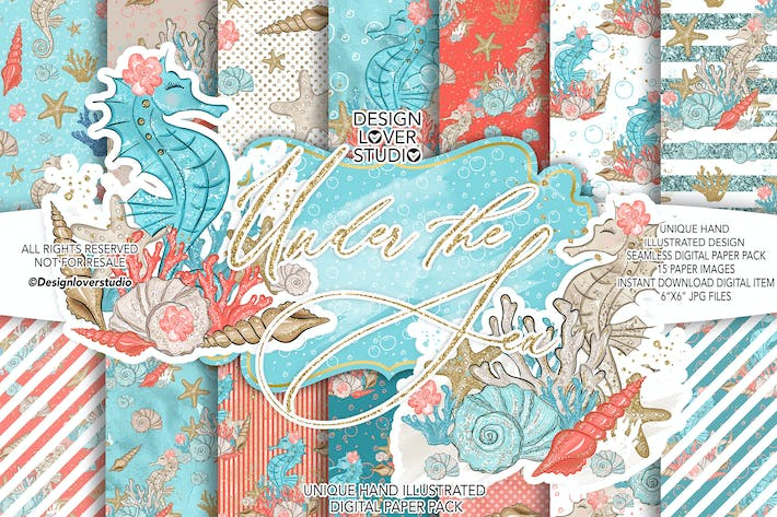 Thumbnail for Under the Sea digital paper pack