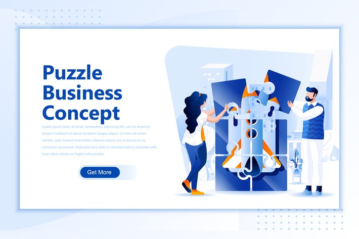 Thumbnail for Puzzle Business Concept Flat Landing Page Header