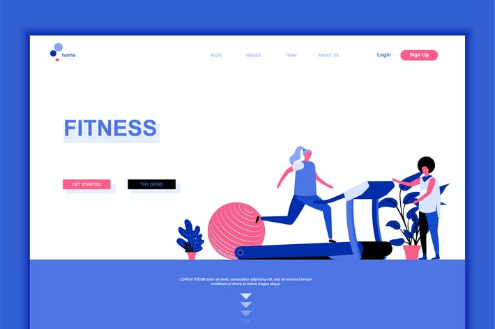 Thumbnail for Fitness Flat Landing Page Template