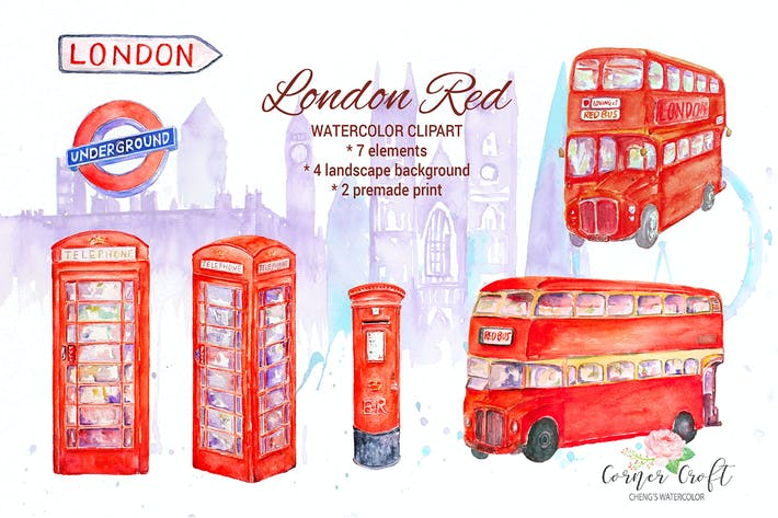 Thumbnail for Watercolor London Red