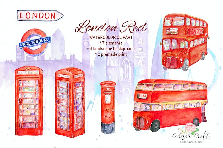 Watercolor London Red