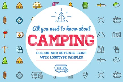 Camping Color and Outlined Icons with Logotypes