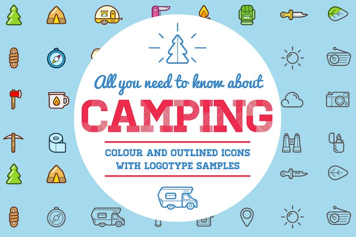 Thumbnail for Camping Color and Outlined Icons with Logotypes