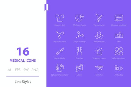 Medical 3 Icon Set Line Styles