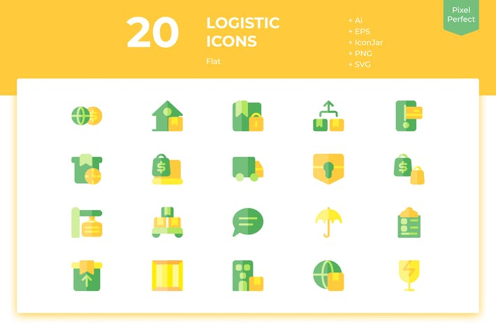 Thumbnail for 20 Logistic Icons (Flat)