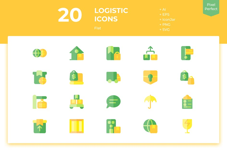 Download 20 Logistic Icons (Flat) by inipagi