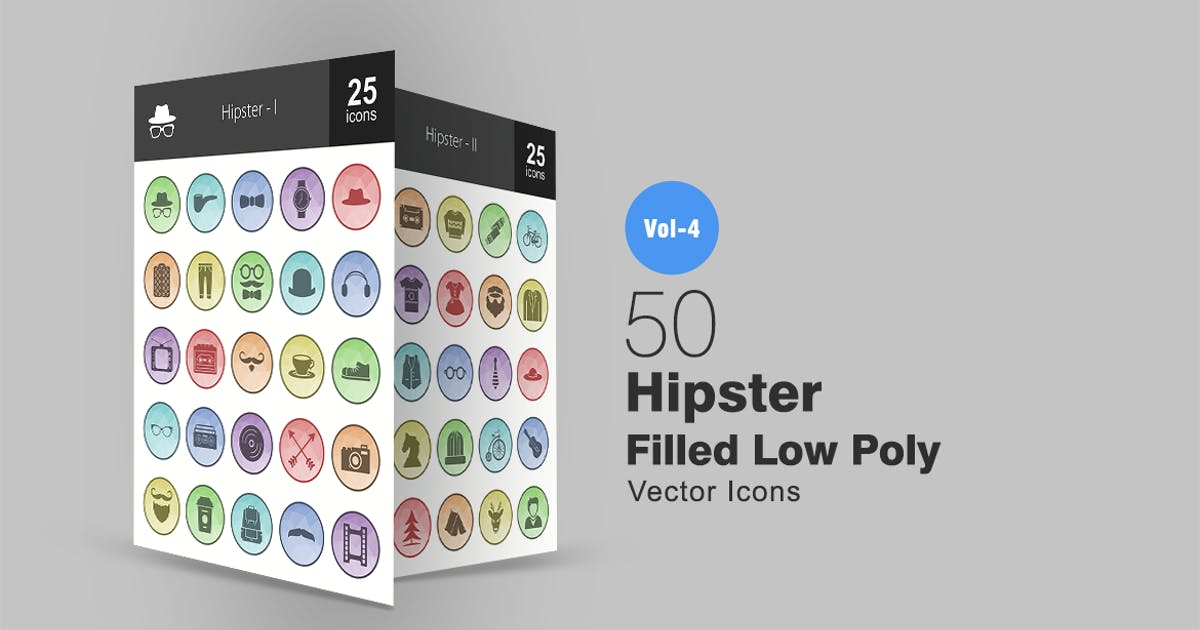 Download 50 Hipster Filled Low Poly Icons by IconBunny
