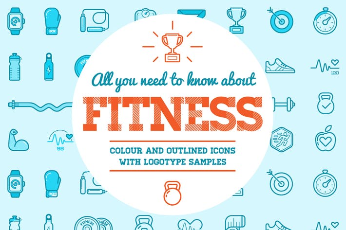 Thumbnail for Fitness Icons and Logo Set 2