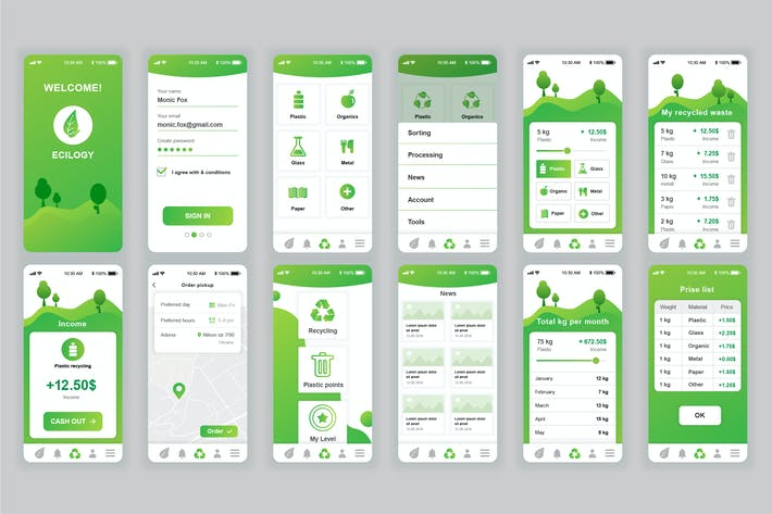 Thumbnail for Ecology Mobile App UX and UI Kit