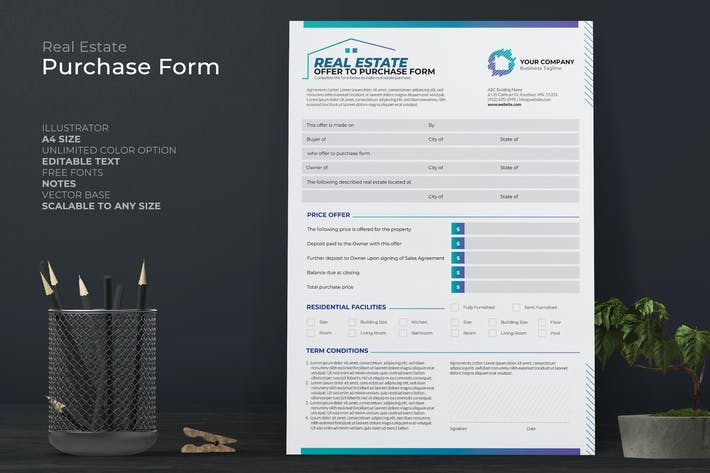 Thumbnail for Real Estate Purchase Form With Blue Accent