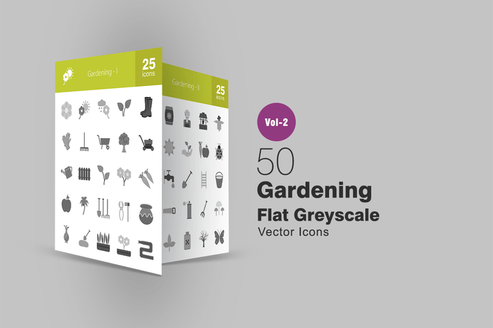 Thumbnail for 50 Gardening Greyscale Icons