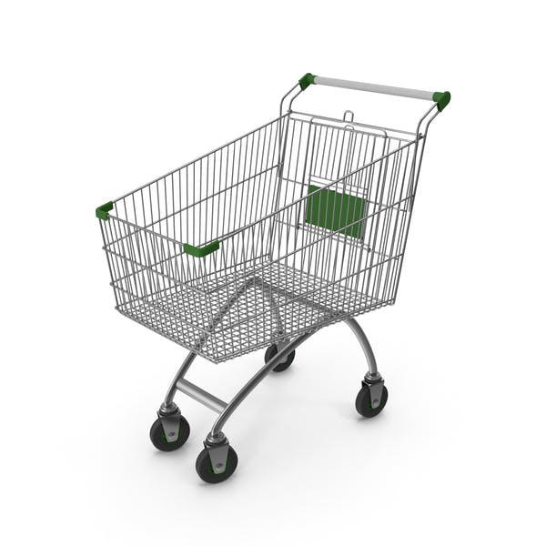 Supermarket Сart with Green Plastic
