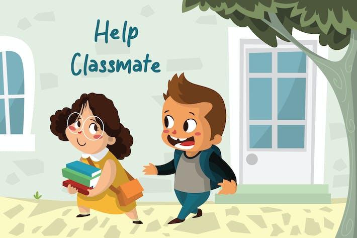 Hilfe Klassenkamerad - Vektor illustration