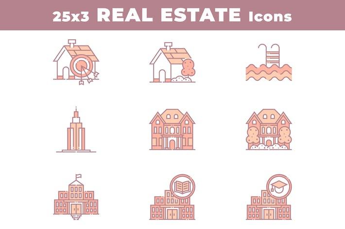 25 Immobilien und Häuser Icons