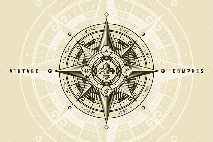 Cover Image For Vintage Nautical Wind Rose