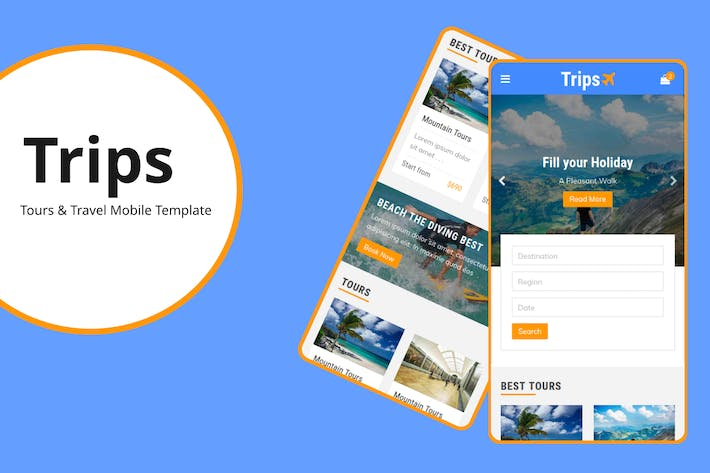 Thumbnail for Trips - Tours and Travel Mobile Template