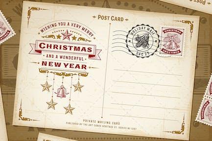 Weinlese-Weihnachts-Typografie-Post
