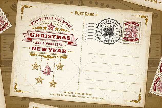 Vintage Christmas Typography Postcard