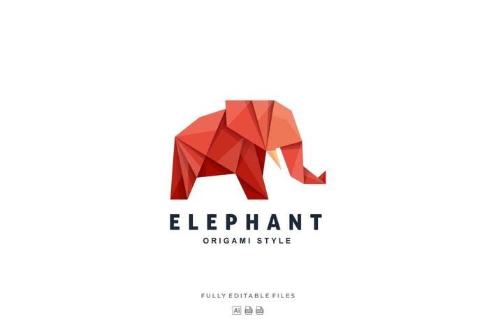 Thumbnail for Elephant Origami Gradient Colorful Logo