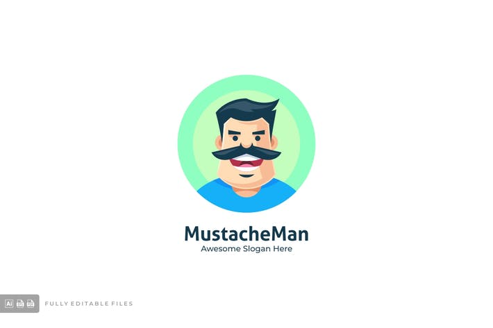Thumbnail for Mustache Man Logo Template