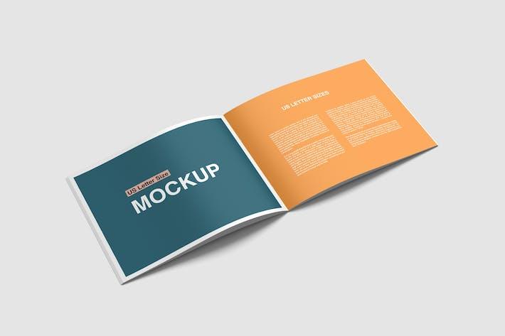 Thumbnail for US Letter Landscape Brochure Magazine Mockup