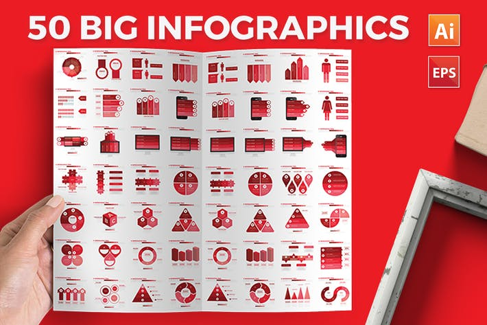 Thumbnail for Red Infographics Elements Design