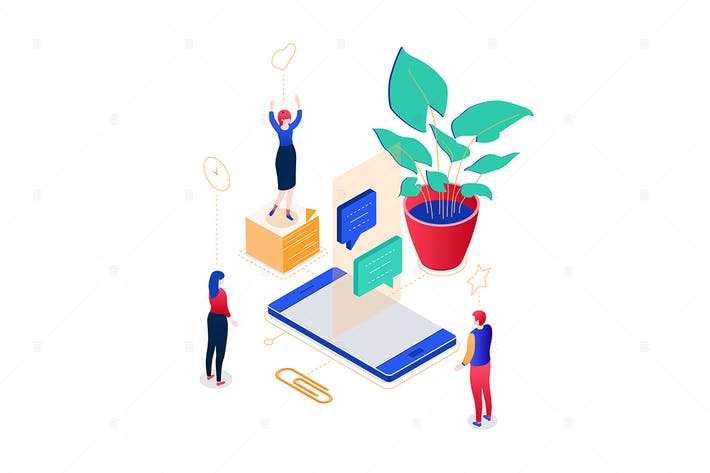 Thumbnail for Chatting online - isometric vector illustration