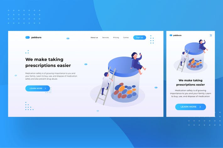 Thumbnail for Medical Landingpage UI with illustration 1.4