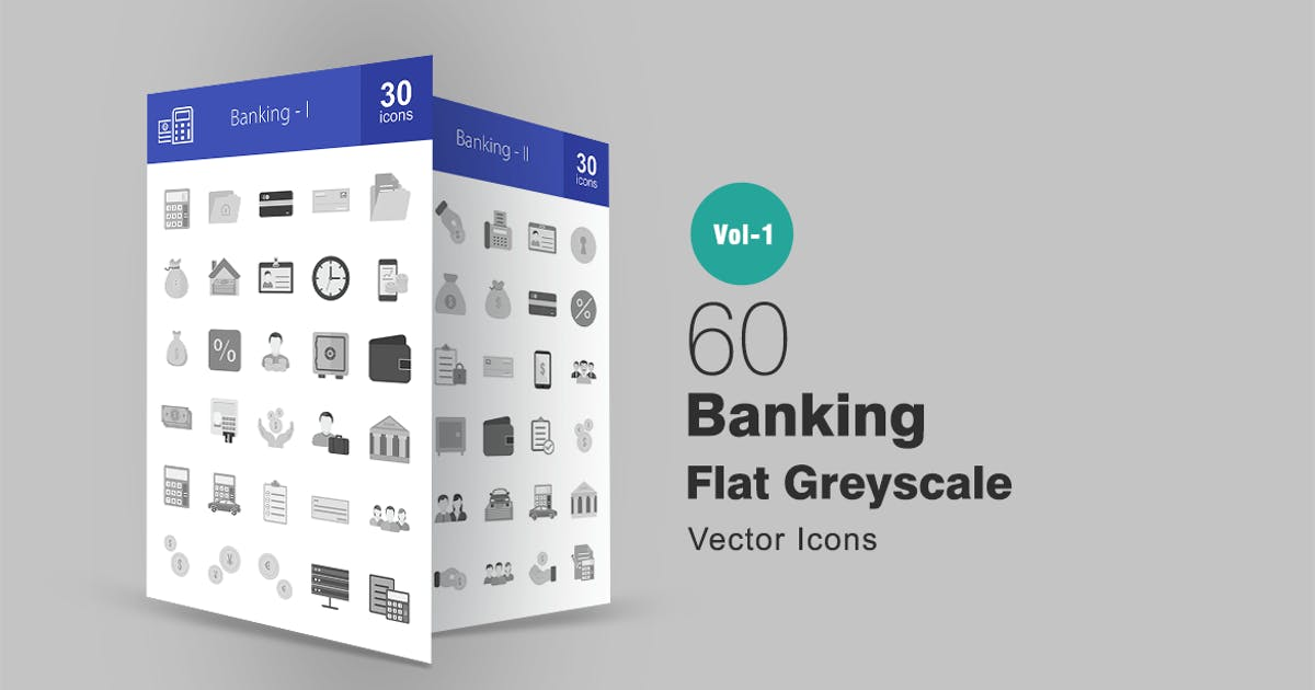 Download 60 Banking Greyscale Icons by IconBunny