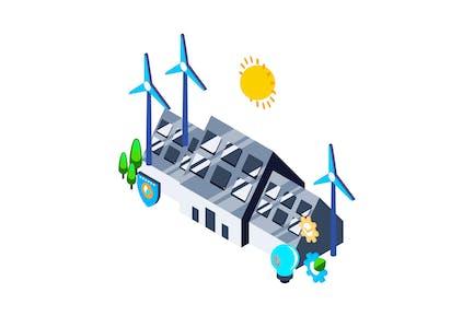 Renewable Energy Isometric Illustration