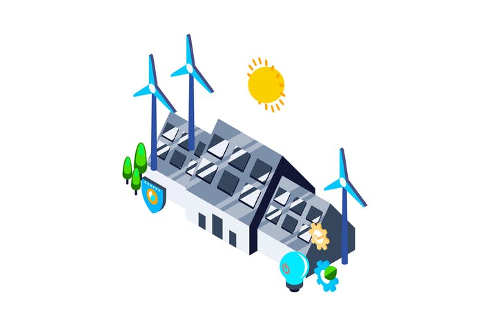 Cover Image For Renewable Energy Isometric Illustration