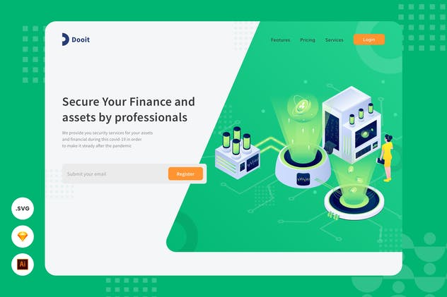 Professional Secure - Website Header Illustration