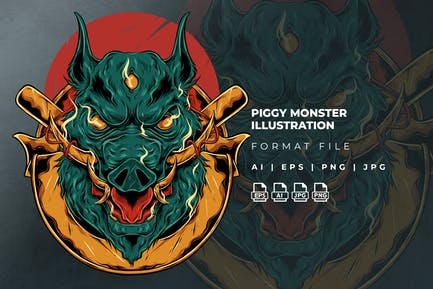 Piggy Monster Illustration