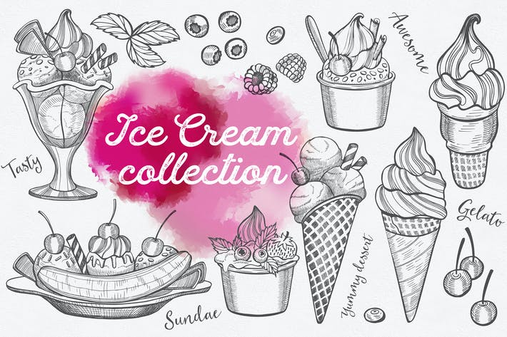 Thumbnail for Ice Cream Hand-Drawn Graphic