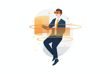 Businessman experiencing VR glasses vividly