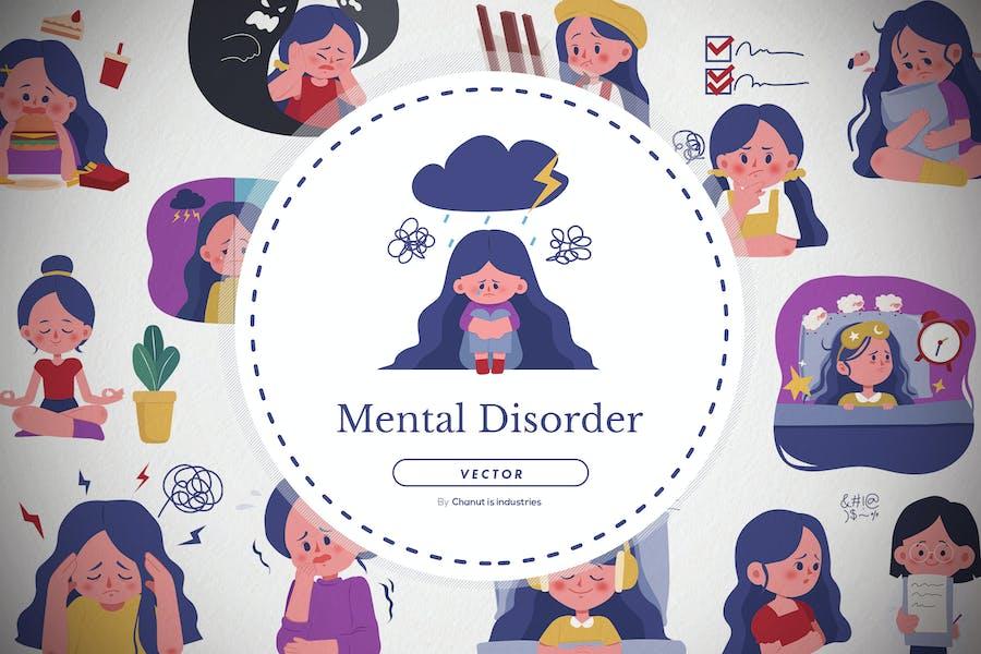 13 Mental disorder illustration pack