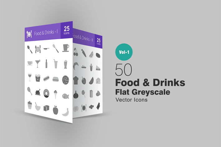 Thumbnail for 50 Food & Drinks Greyscale Icons