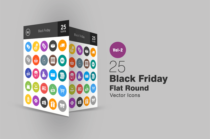 Thumbnail for 25 Black Friday Flat Round Icons