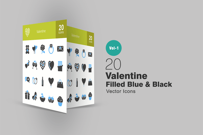 Thumbnail for 20 Valentine Blue & Black Icons
