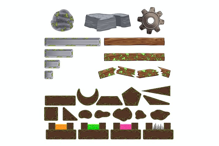 Thumbnail for Set of Game Elements, Platforms and Objects