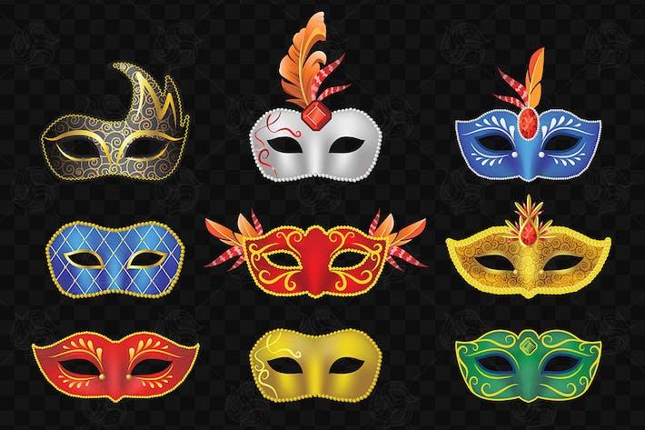 Cover Image For Carnival Masks - vector set of face garment