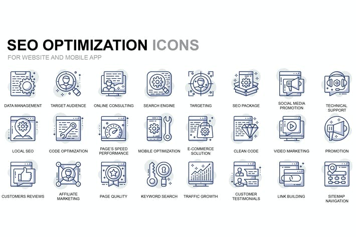 Thumbnail for Seo und Web-Optimierung Thin Line Icons