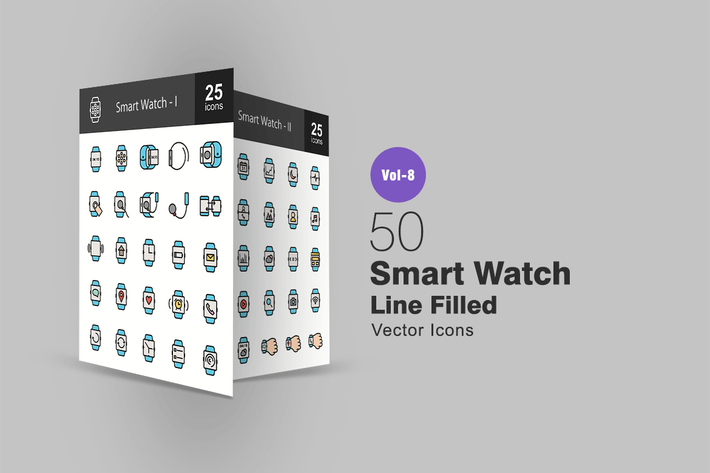 Thumbnail for 50 Smart Watch Line Filled Icons